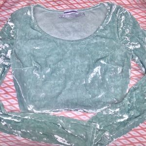 Urban Outfitters Tops - [2 for 20] NWOT UO Mint Crushed Velvet Crop Top
